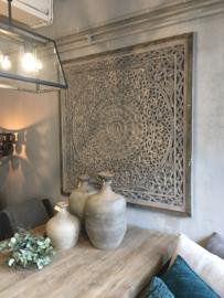 Prachtig wandpaneel vergrijsd met houten rand 120x120