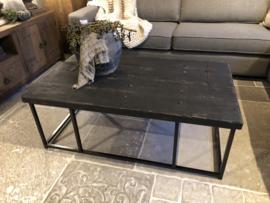 Stoere salontafel op stalen frame old black 120 & 150 cm