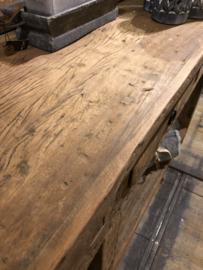 Geweldig dressoir/ wandtafel van oud teakhout - 4 lades