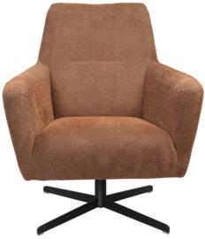Mooie landelijk stoere industriële fauteuil met draaipoot zwart