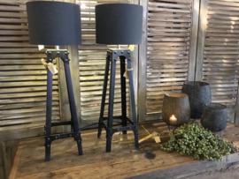 Stoere zwarte metalen tafellampen