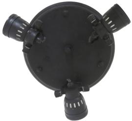 Mooie ronde spot met 3 lampjes zwart metaal