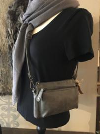 Leuk klein schoudertasje donker grijs