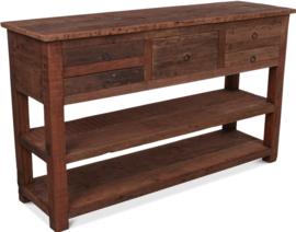 Hele gave sidetable van oud hout 150 cm met 5 lades