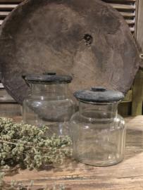 Leuk voorraad potje van glas met houten deksel