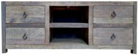 Stoer tv-meubel van doorleefd oud hout- 3 kleuren