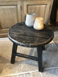 Stoer rond tafeltje oud zwart 60 cm