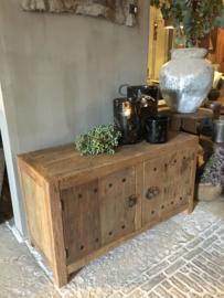 Stoer tv kastje / kastje oud hout naturel vergrijsd 100 cm