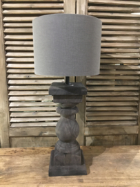 Zwart houten tafellamp klein