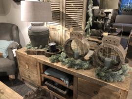 Kunst kerst guirlande grijs/groen
