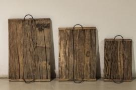 Stoer houten dienblad met handvaten oud hout S