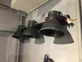 Stoere plafond / wandlamp in oud zwart 3 spot