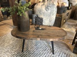 Stoere ovale salontafel oud hout op stalen pootjes 130 x 70