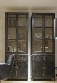 Mooie stoere buffetkast 2 deurs oud zwart -Bennie-