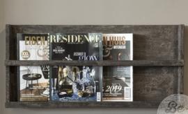 Houten magazine wandrek vergrijsd hout