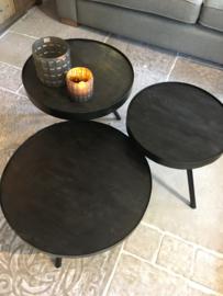 Leuke zwarte salontafel rond 60 cm