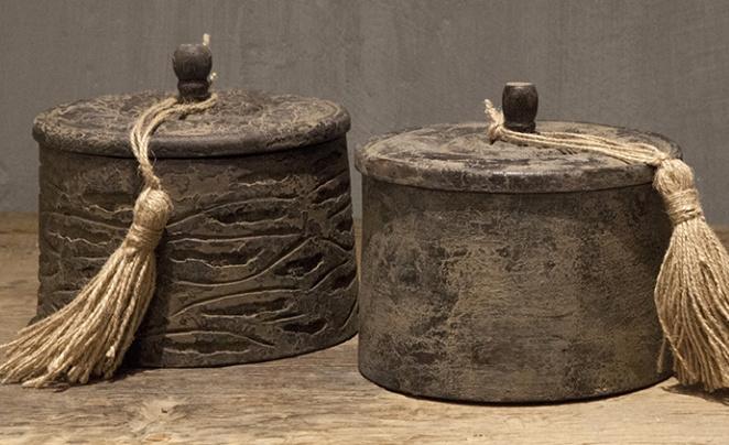 Unieke houten pot met deksel