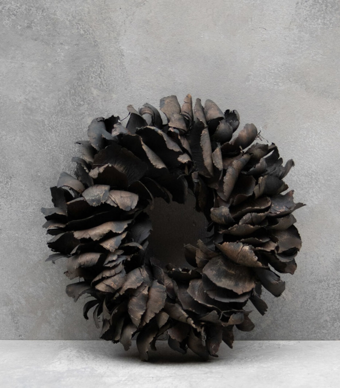 Krans van palmblad black 40 cm