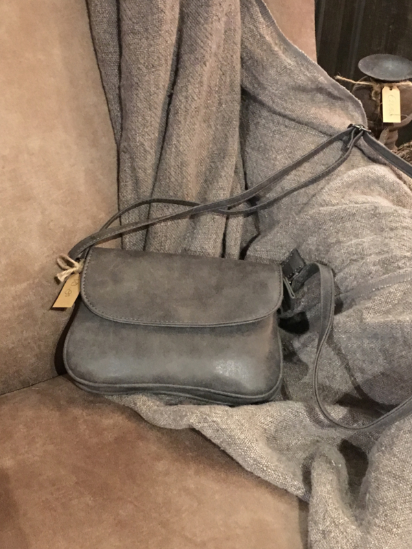 Leuk schoudertasje donker grijs