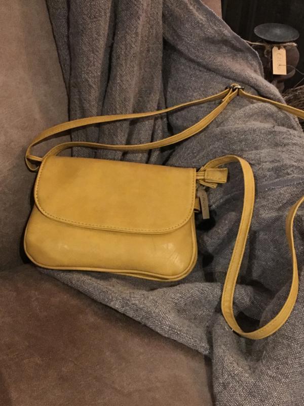 Leuk schoudertasje geel