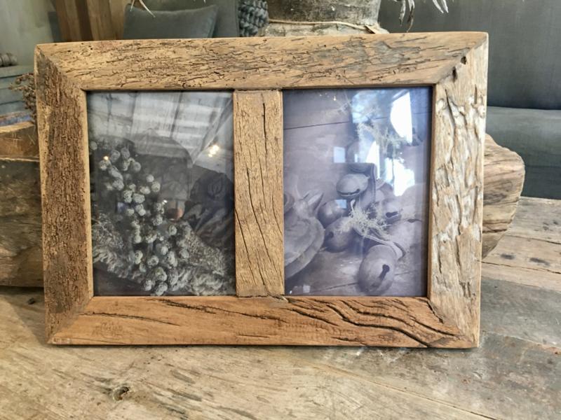 Prachtige grote fotolijst oud hout