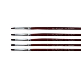 Mus-brush serie 201 Set 5x No. 0 plat penseel synthetisch