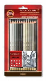 Koh-I-Noor Polycolor Kleurpotloden 12 stuks Grey-line