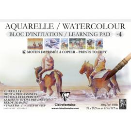 Clairefontaine Aquarelblok voor bedrukt A4 paarden