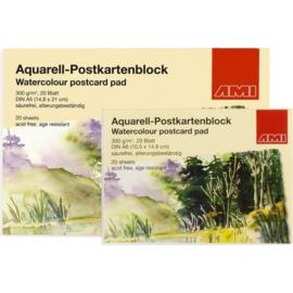 AMI Aquarell-postcard blok A6