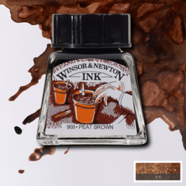 Winsor en Newton  Drawing Inkt Peat Brown