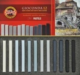 Softpastel carré grijs 12 stuks