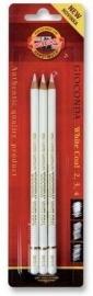 Houtskool potloden WIT set 3 stuks