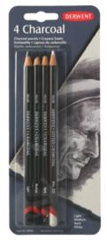 Derwent Houtskool potloden set 4 stuks