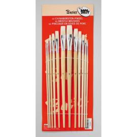 Set 12 platte penselen - varkenshaar
