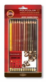 Koh-I-Noor Polycolor Kleurpotloden 12stuks Brown-line