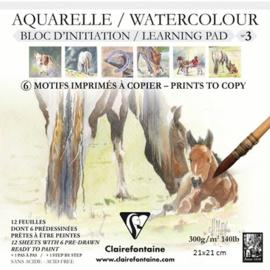 Clairefontaine Aquarelblok voor bedrukt 21x21cm paarden