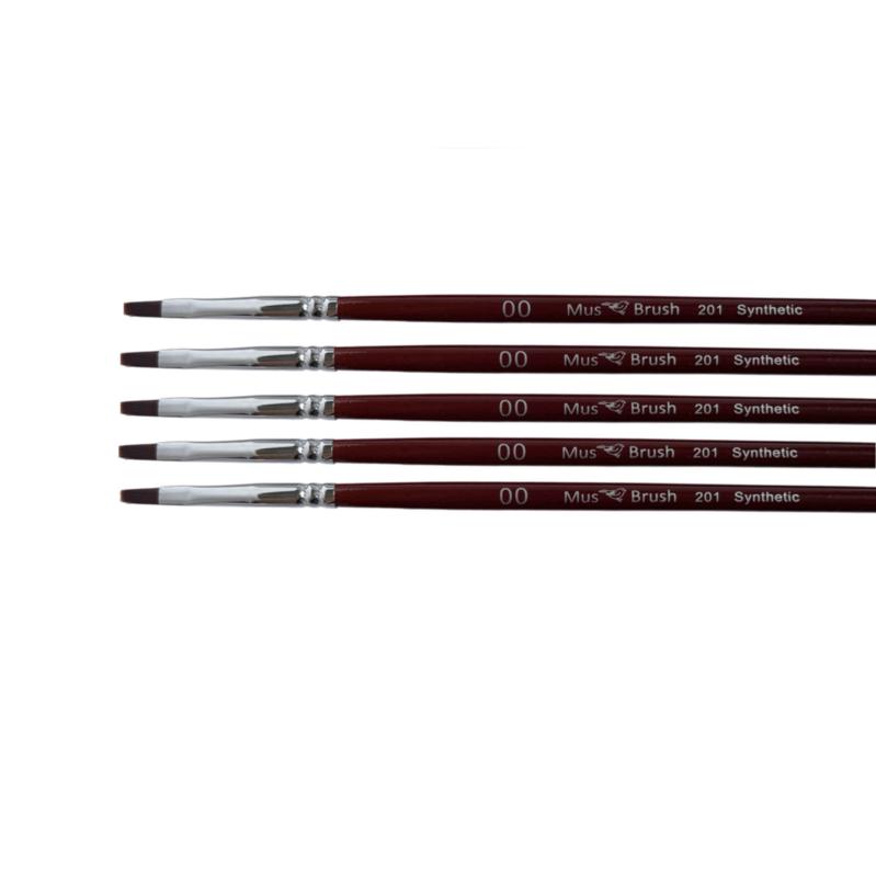 Mus-brush serie 201 Set 5x No. 00 plat penseel synthetisch