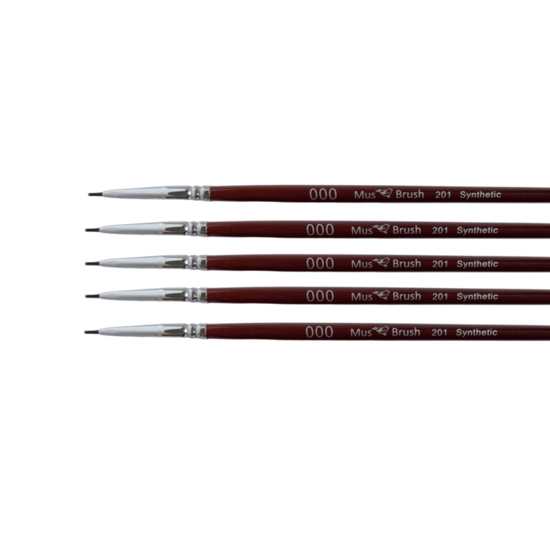 Mus-brush serie 201 Set 5x No. 000 plat penseel synthetisch