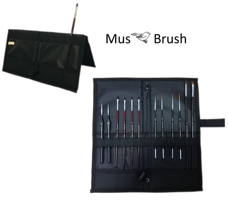 MusBrush Penseelset in vouwetui - 13 delig - fijn