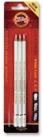 K-I-N Houtskool potloden WIT set 3 stuks