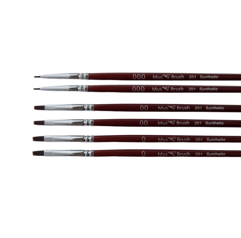 Mus-brush serie 201 Set 6-delig - plat penseel synthetisch