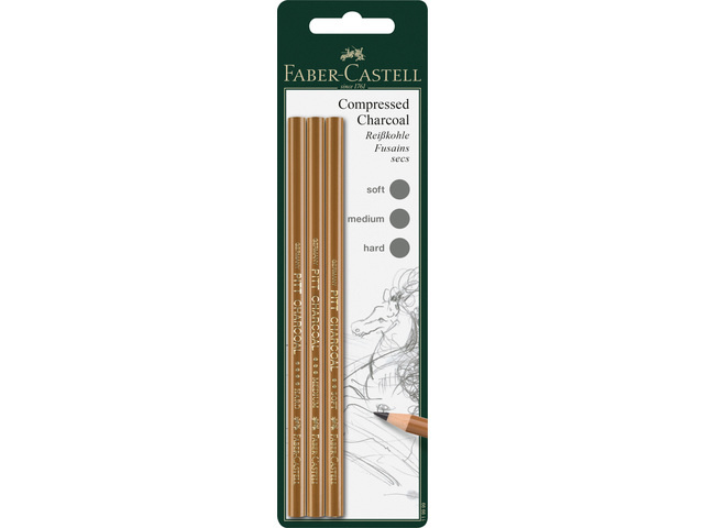 Faber-Castell Pitt houtskoolpotloden geperst 3 stuks