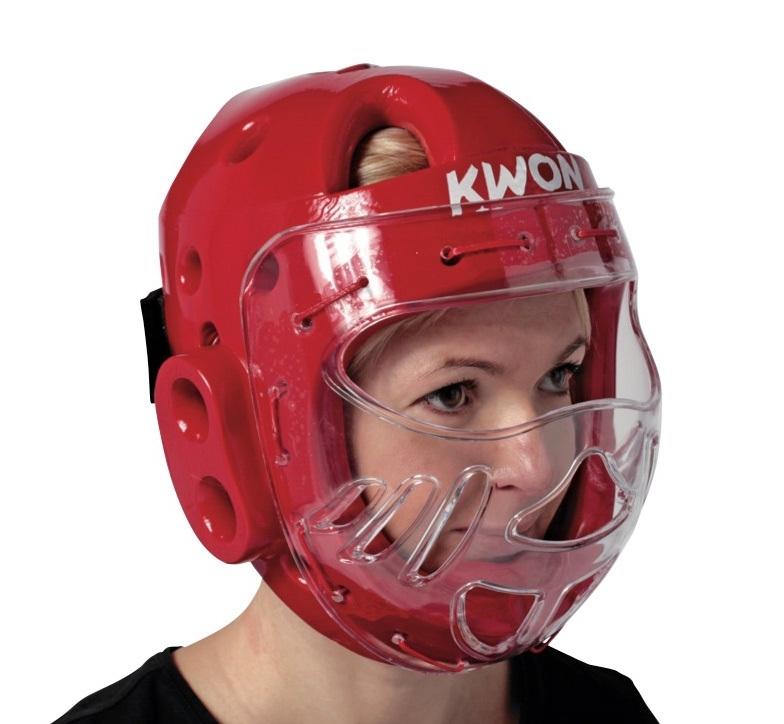 Hoofdbeschermers met masker rood