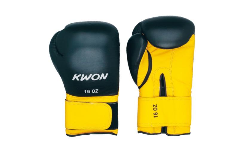 Bokshandschoenen Knocking zwart/geel 16oz