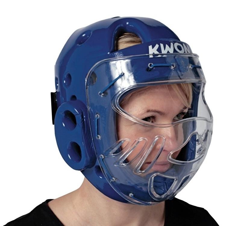 Hoofdbeschermer met masker blauw