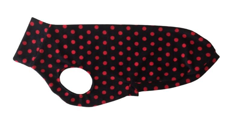 Fleece jumper zwart met rode stippen