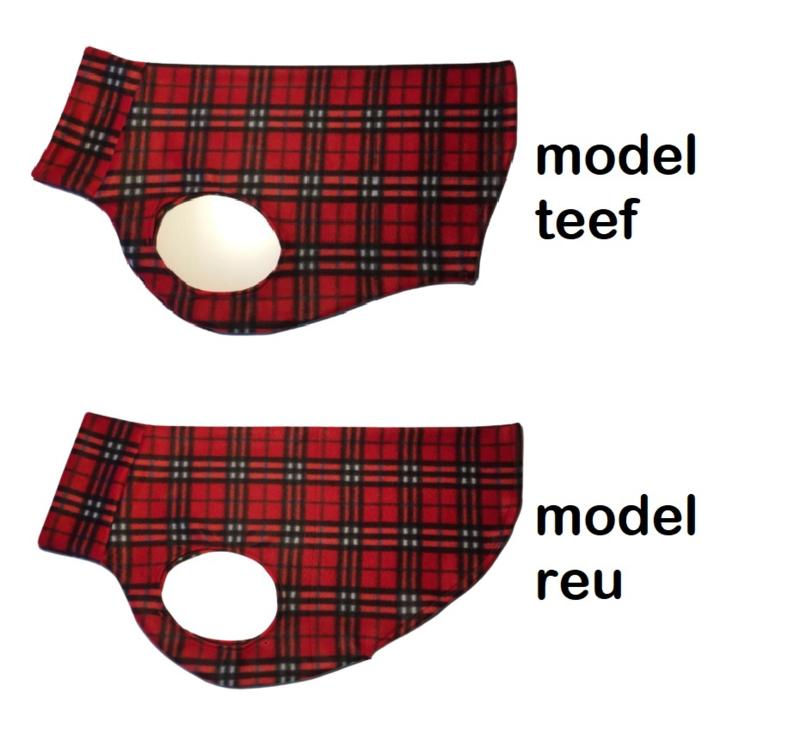 Fleece hemdjes voor reu of teef - ruit rood
