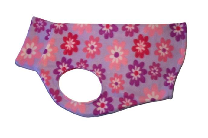 Fleece hemdjes voor teef - lila gebloemd