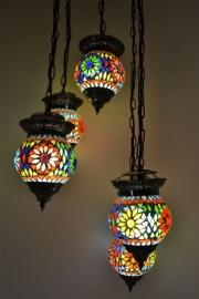 Hanglamp met 5 mozaïekbolletjes