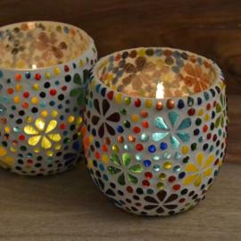 Mozaiek waxinehouder 'Bloem' multicolour